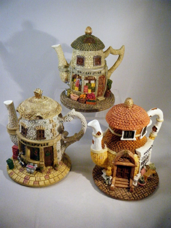 Three Hometown Teapot Cottages/Antique Store, Post Office and Grocery Store Cottages