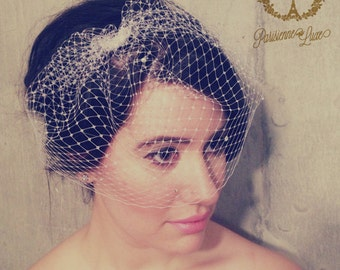 "Birdcage Veil with Rhinestones, Russian Netting, Blusher Veil, Bridal Birdcage Veil, Wedding Head Piece, Ivory or White  ""ADELLE"""