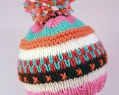 LUCY: Handknit baby hat, 3 month size, stripes, embroidery, pom-pom