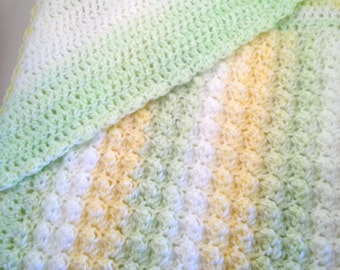 Crocheted Hooded Baby Blanket Afghan Lemon Lime - Green, Yellow and White
