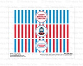 Printable DIY Blue and Red Thomas the Train Theme Personalized Happy Birthday Water Bottle Labels