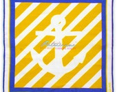 Patriciani Beach Club Pocket Square - Yellow White Blue Linen - Anchor - Christmas Gift For Him - X-mas