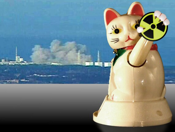 NMN (No More Nukes Bye Bye Neko) solar lucky cat