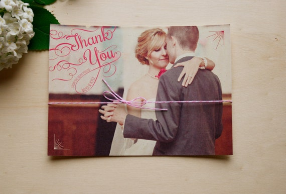 Custom Thank You Cards with Vintage Script Lettering and Large Photo - Wedding Thank You Notes - Wedding Stationery - Printable DIY - Gwen