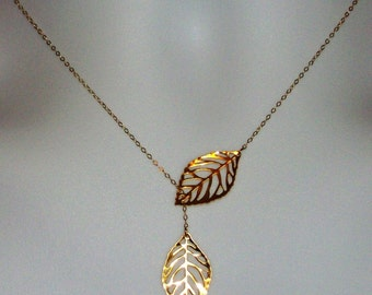 Set of Five - Leaf Lariat Necklace - Gold Leaf Lariat, gold, yellow, Gold filled Leaf Lariat Necklace, Valentines Day, Bridesmaid Gifts,