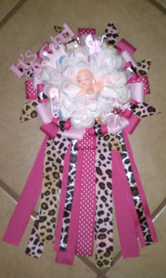 Items similar to baby shower corsage pink with leopard for Animal print baby shower decoration ideas