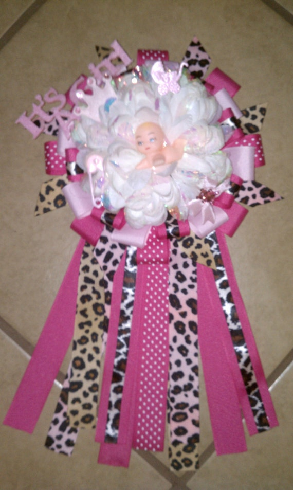 items similar to baby shower corsage pink with leopard print on etsy
