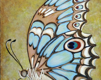 """Large Original Butterfly Painting- 24x36-acrylic on gallery wrapped canvas - """"Schmetterling""""- Bluegreen Butterfly- not a print"""