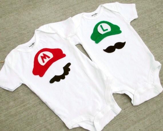 Items similar to super mario brothers baby boy girl onesies mario or luigi on etsy