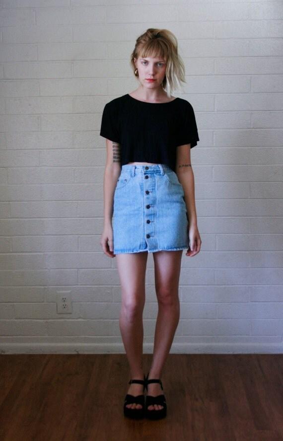 good high waisted jean skirt outfit dress