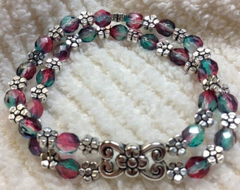 Beaded Bracelet Teal and Rose Swirl Faceted with Flower Centerpeice