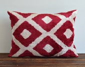 Velvet Ikat Cushion Cover - Soft Handwoven Decorative Pillow For Couch Maroon Red Cream Diamond Chevron Livingroom Decor Ikat Pillow Cover