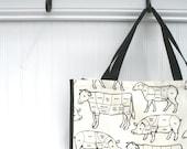 Butcher Cuts Shopping Bag - Farmers Market Bag - Black - White - Eco-Friendly