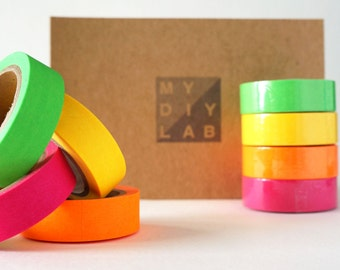 Neon Washi Tape Set - Neon Green, Neon Yellow, Neon Pink, Neon Orange