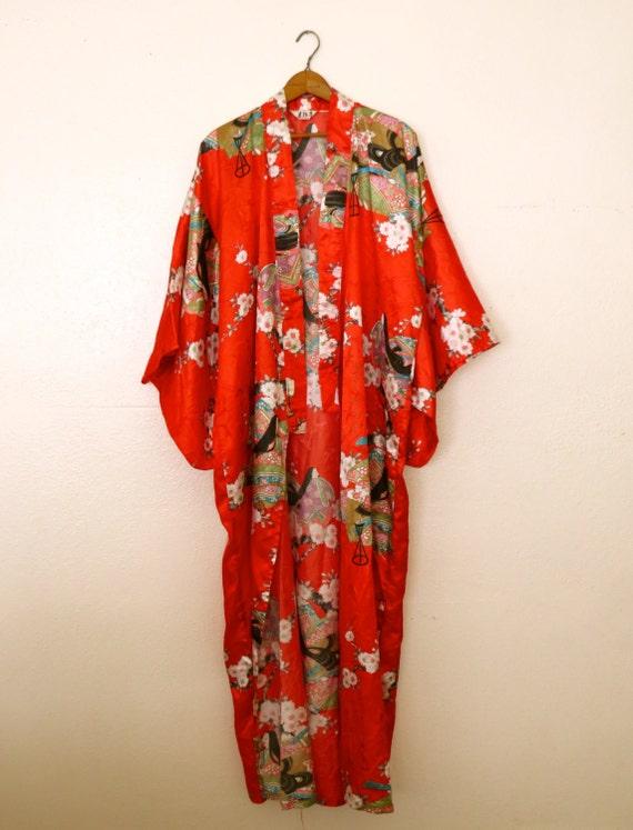 Japanese Red Silk Kimono Robe By Barnabyjack On Etsy