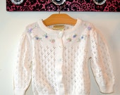 Vintage Laura Ashley Mother & Child Cream Pointelle Cardigan...Babies' Small
