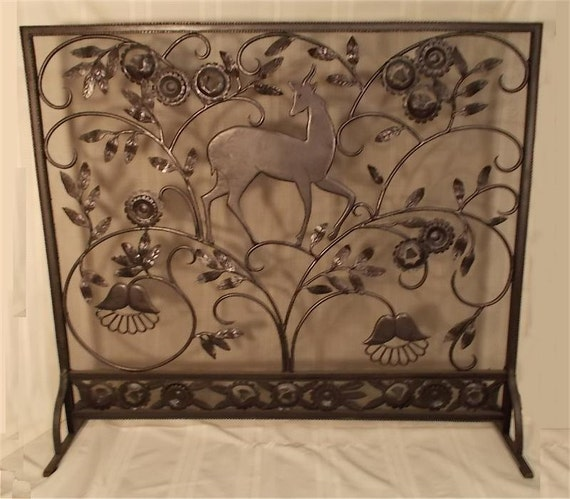 Items Similar To Custom Made Hand Wrought Iron Fireplace Screen Deer In Forest On Etsy
