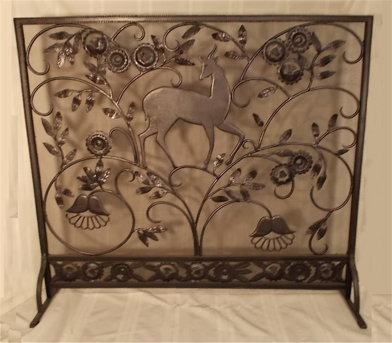 Custom made hand wrought iron fireplace by bryantartantiques for Custom wrought iron fireplace screens