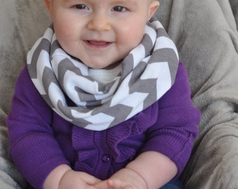 Small Grey Gray on White Chevron Jersey Knit Infinity Scarf - Baby Children's Toddler PHOTO PROP Scarf - ChevronScarf