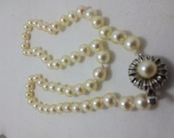 1960s - 7mm CULTURED PEARLS with silver ornate clasp- hand knotted