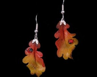 Yellow Oak Leaf and Ladybird Earrings