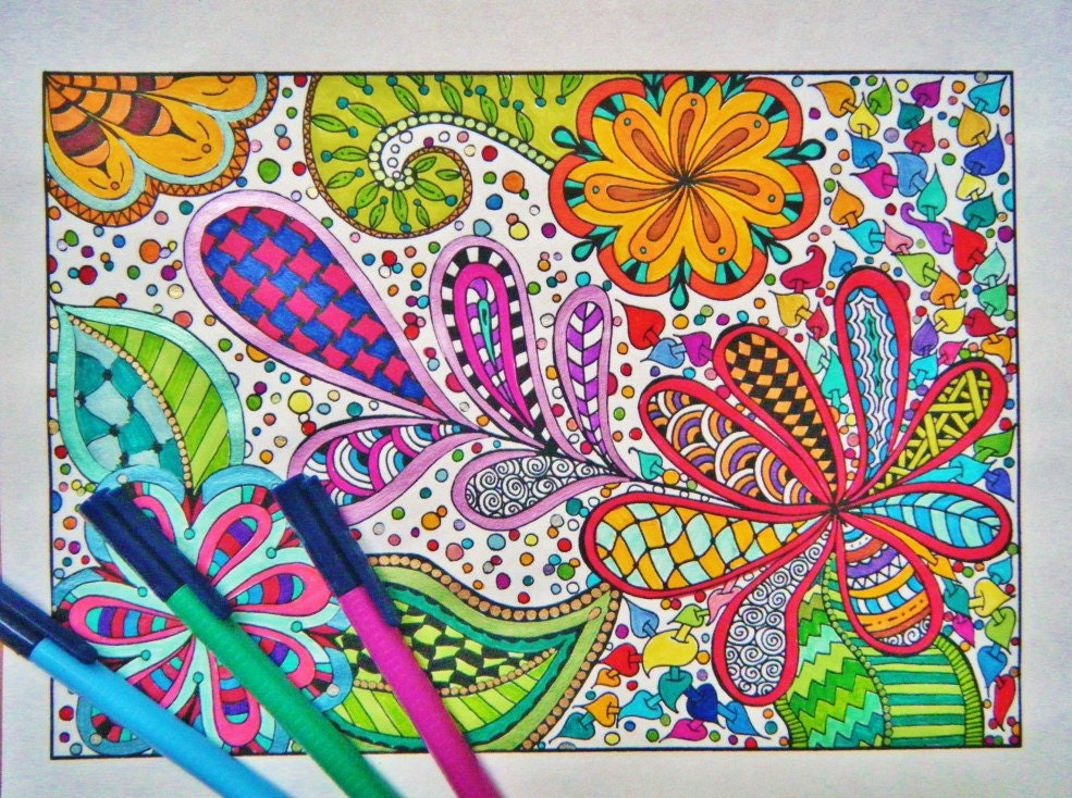 Coloring Page Printable Zentangle