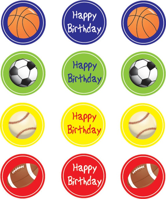 Printable Sports Themed Cupcake Toppers or Stickers Instant