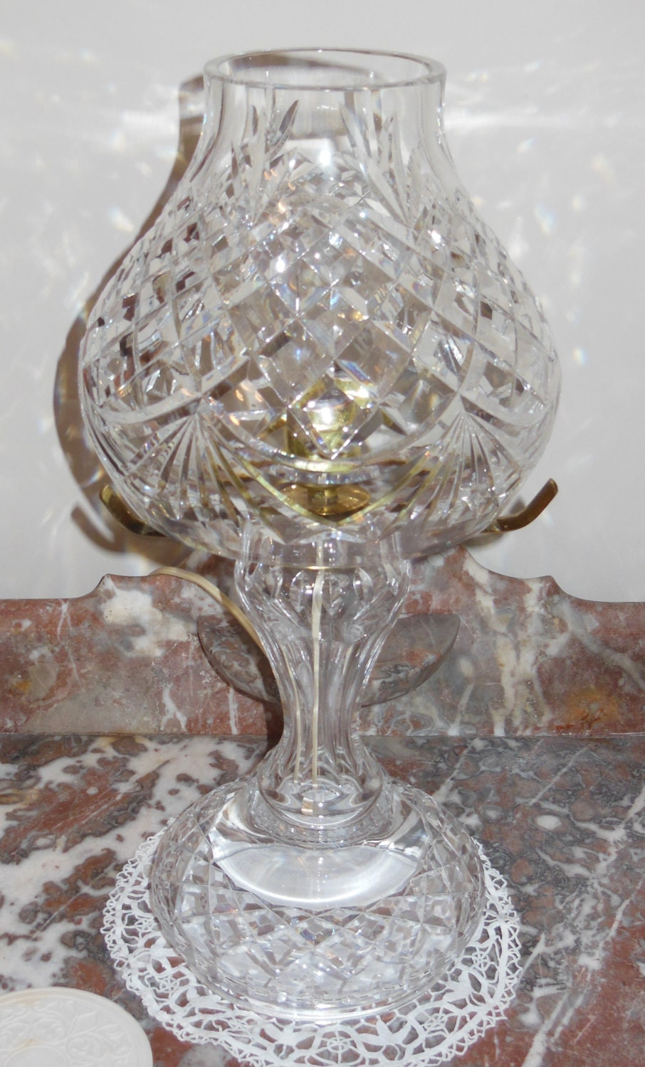 on sale waterford crystal lamp signed. Black Bedroom Furniture Sets. Home Design Ideas