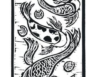 Lucky Koi, Hand Pulled Linocut Greeting Card, Fish, Printmaking Original