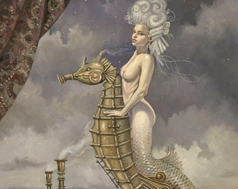 "Mermaid on Mechanical Seahorse (Unframed 24""x32"" Giclée Print) Art  by David Delamare (Victorian / Steampunk)"