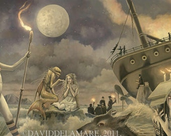 "The Tempest (Unframed 36""x18"" Giclée Print) Shakespeare Art  by David Delamare"
