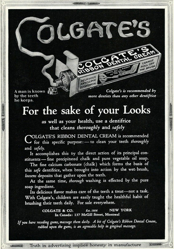 Vintage Colgate Toothpaste Ad 1920 S Bathroom Wall Decor