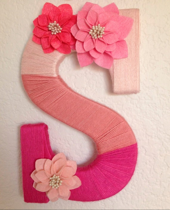 Items similar to ombre yarn wrapped letter on etsy for Letter k decoration