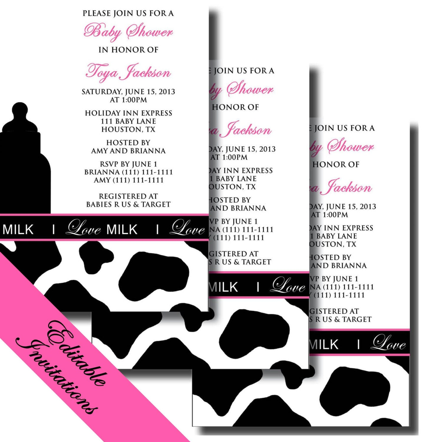 COW Print Baby Shower Pack MILK Inspired Printable – Cow Party Invitations