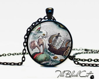 Vintage Ship pendant Vintage Ship jewelry Vintage Ship necklace Antique Style Ship Sea Monsters Antique Nautical Maps (PS0006)