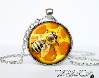 Bee and honey pendant Bee and honey necklace Bee and honey jewelry (PBH0001)