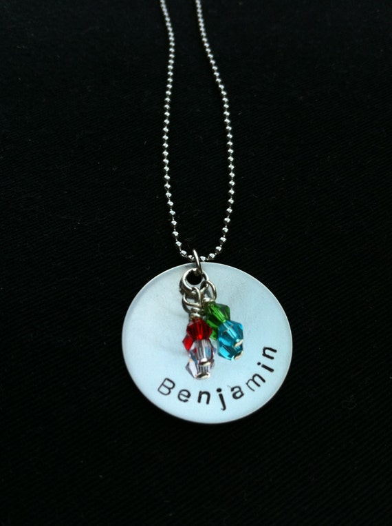 Hand Stamped Stainless Steel Necklace with Swarovski Crystals