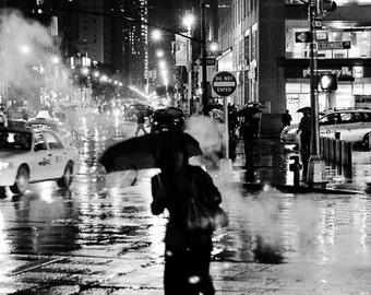 NYC Cityscape, New York City Photography, Fine art, Black and White, Street Photography, Rainy, Home Decor, Gallery Wrapped  CANVAS 16 x 24