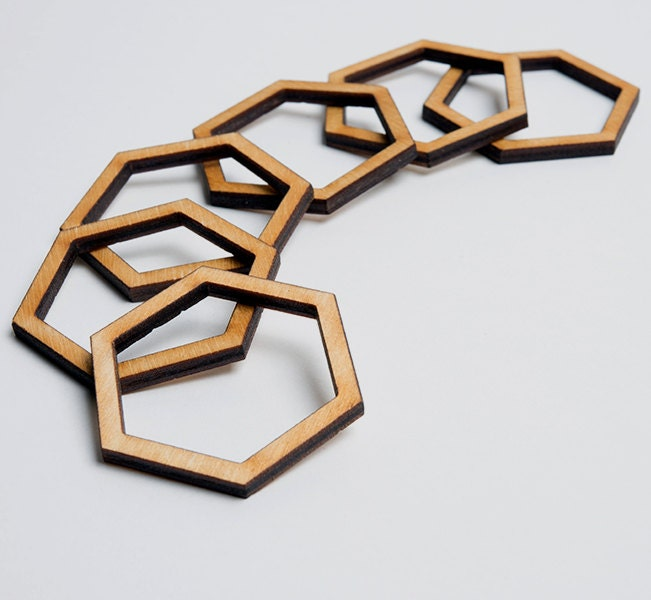 6 Laser Cut Hexagon Frames Unfinished Wood Jewelry Supply