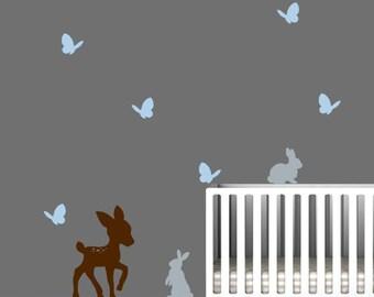 Nursery Wall Decal, Deer, Butterflies, and Bunnies
