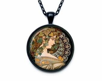 Alphonse Mucha necklace Alphonse Mucha pendant Alphonse Mucha jewelry