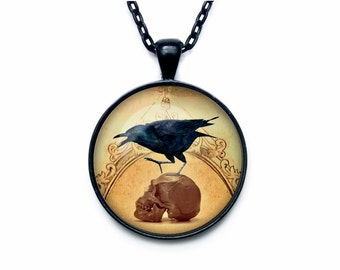 Gothic raven Steampunk crown pendant Gothic raven jewelry