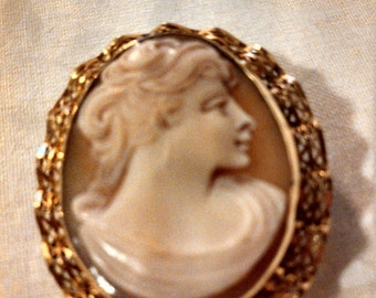 """Vintage Shell Cameo with Gold Filled Frame by """"H.G."""""""