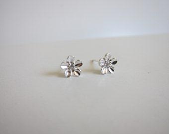 Tiny Sterling Silver Cherry Blossom earrings, Silver Flower earrings, tiny stud earrings, bridesmaid gift, dainty earrings, flower girl gift
