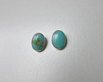 Sterling Silver Turquoise Oval Ear Studs, Dainty Earrings, Everyday Jewelry