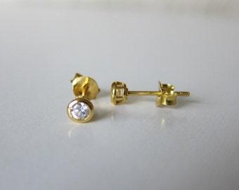 CZ Diamond Earrings, Gold earrings, tiny stud earrings, tiny gold earrin Gold stud earrings, gold bezel earrings,Bridesmaid