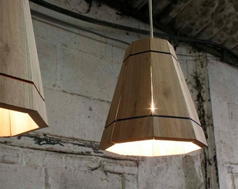 Wooden Pendant Lamp Shade lighting in Recycled Pallet Wood, Small