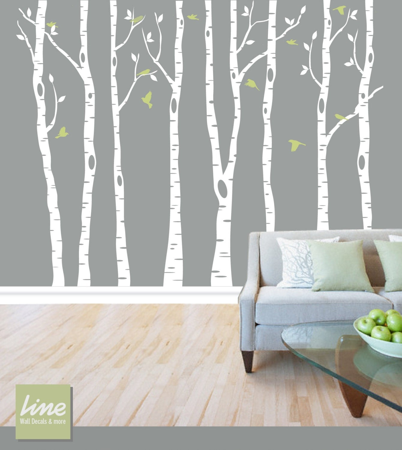 Wall birch tree decal forest birch trees birch trees vinyl for Birch tree wall mural