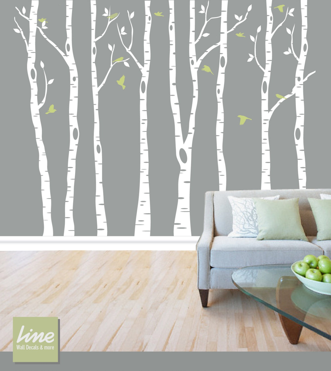 Wall birch tree decal forest birch trees birch by limedecals for Birch tree forest wall mural