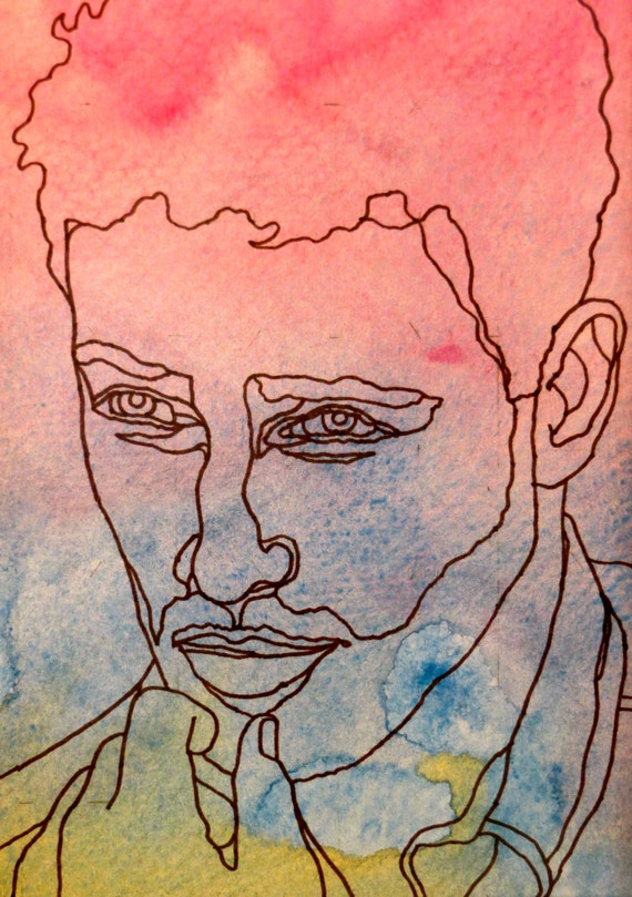 Contour Drawing And Line Drawing : Items similar to even steven an original artwork ink